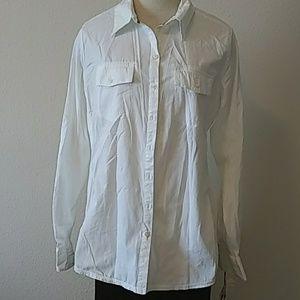 Converse White Button Down Blouse (XL)